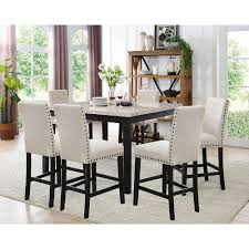 Azul 7 Piece Espresso And Ivory Dining Set Marble Table 6 Fabric