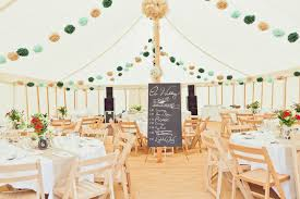 Large White Tent With Small Blackboard Also Wooden Chairs Plus Round Tables In Vintage Wedding Decorations Ideas