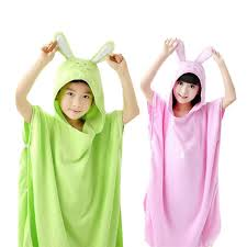 Child Bathrobe Hooded Cartoon Pullover Beach Towel Robe Kids Swimming Roupao Pink Blue Green Yellow Shawl