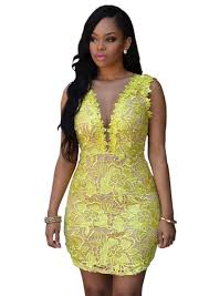 online get cheap yellow lace cut out dress aliexpress com