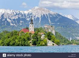mountain ranges of europe blejski otok island with st s church in lake bled and the