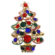 Soulbreezecollection Christmas Tree Brooch Pin Colorful Lights Ornaments Jewelry
