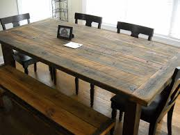 DIY Rustic Farmhouse Kitchen Table Made From Reclaimed Wood With Bench And 4 Wooden Chairs Black Leather Seats Ideas