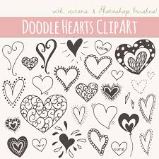 28 Doodle Hearts Clip Art // Digital Graphics Download // Valentines Day  Love Heart Kiss // Photoshop Brushes PNG File Vector // Commercial