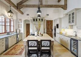 Farmhouse Kitchen Ideas With Loft Design Also Island Seating And Double Handle Faucet Besides Spacious White