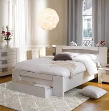 conforama chambre à coucher lit led 160x200 cm moka coloris frêne blanchi prix promo
