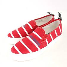 MOSCHINO LOVE Damen Sneaker Gr 37 Rot Weiss Canvas Slip On Schuhe NP