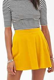 forever 21 pocket skater skirt in yellow lyst