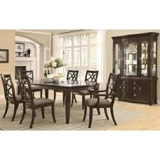 Coaster Meredith Dining Room 7pcs Set Espresso Curved Design Table W 14 Leaves Lattice Back Arm And Side Chairs