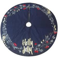 Allen Roth 56 In Black Cotton Holly Christmas Tree Skirt