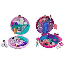 polly pocket gdk82 pyjamaparty schatulle donut wohnzimmer mit polly und shani mädchen spielzeug ab 4 jahren fry38 world flamingo schwimmring