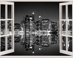 New York Skyline Wall Sticker 3D Window Black And White Decal NY