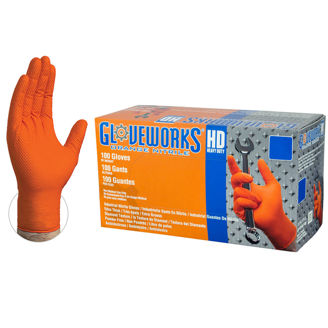 Gloveworks Nitrile Disposable Work Gloves - Orange, XX-Large, 100ct