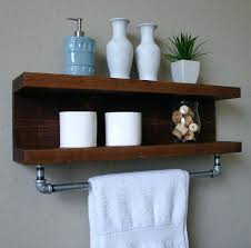 Bathroom Shelf With Towel Bar Wood by Black Bathroom Shelf Towel Bar Ideas Cabinet Shelves Small