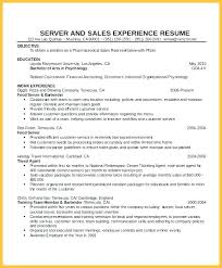 Resume Work Experience Examples For Waitress With Fancy No On Food Server