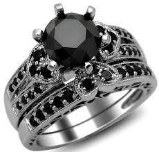 2 42ct Round Black Diamond Engagement Ring Heart Wedding Set 14k