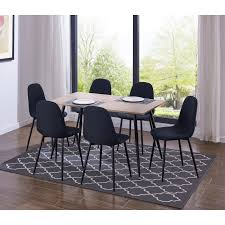 100 Heavy Wood Dining Room Chairs IDS Simplistic Style MDF Table And Duty Metal Structure Modern Design Chair 7 Pieces Set