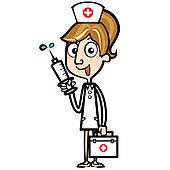 First Aid Kit Cartoon Nurse With And Syringe