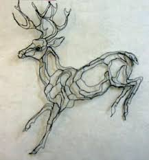 2D Mule Deer Wire Sculpture