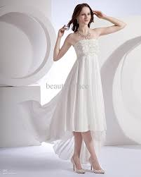 discount front short long back a line strapless white chiffon