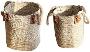 korb aus seegras mit griffen faltbar blumentopf vase pflanzgefäß wäscheaufbewahrung organisationskörbe für picknick badezimmer wohnzimmer küche