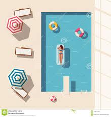 Swimming Pool Flat Vector Illustration Stock
