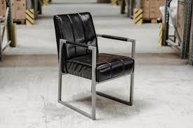 industriedesign sessel fürs esszimmer aus echtleder black 2c