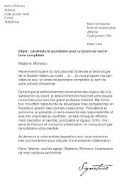lettre de motivation secrétaire comptable modèle de lettre