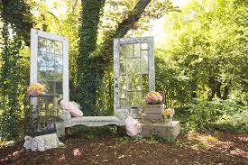 Rustic Vintage Wedding Reception Ideas With Two Glass Door Sand Fabric Bench Also Small Bird Cage
