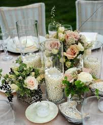 Pearls In The Glass Jars With Candles Photo Via Cedarwoodweddings Lace And Pink Garden Wedding Decor