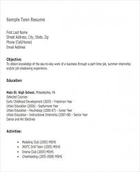 Get Resume Examples For Teenagers First Job 14 Www