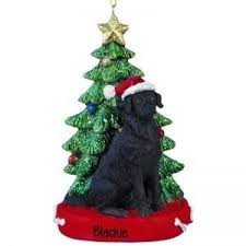 BLACK Lab With Christmas Tree Personalized Ornament And Table Top Decoration