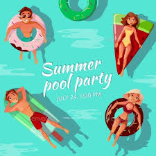Summer Pool Party Vector Illustration