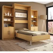 Wooden Bed Frame In Single Arrangement With Bookshelves Match For Small Space