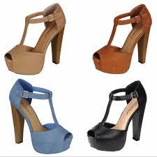 new women t strap peep toe buckle ankle strap platform chunky