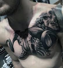 3d Animal Skull Guys Upper Chest Tattoo Design Ideas