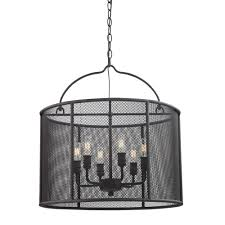 Concord Lamp And Shade by Fifth And Main Lighting 6 Light Textured Bronze Pendant With Metal