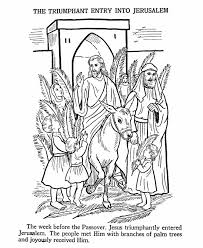 Easter Bible Coloring Pages Jesus Enters Jerusalem Page Sheet