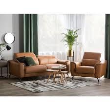 sofa set braun echtleder sitzgruppe retro wohnzimmer
