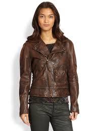 ralph lauren blue label sierra leather jacket in brown lyst
