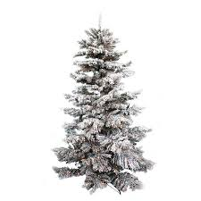 Holiday Time Pre Lit 75 Winter Flocked Fir Artificial Christmas Tree Green With