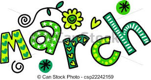 March clip art Whimsical cartoon text doodle for the month