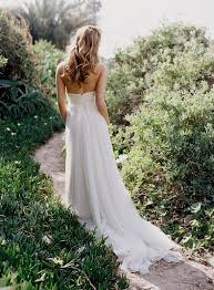 Simple Strapless Chiffon Wedding Dress For Country Garden
