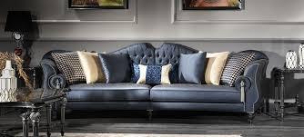 casa padrino luxus barock wohnzimmer sofa blau silber schwarz 300 x 94 x h 88 cm edel prunkvoll