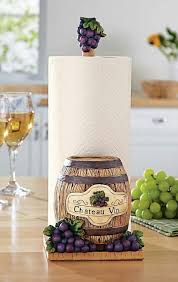 Grapevine Wine Country Kitchen Decor Grapes W Barrel Paper Towel Holder