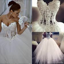 gorgeous luxury crystals 2017 ball gown wedding dresses empire