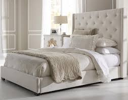 White King Headboard And Footboard by Contemporary Shelter Fabric Upholstered Bed In Cream Humble Abode