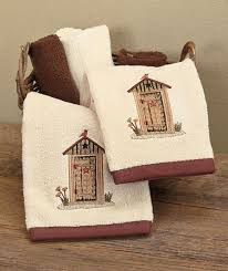 Linda Spivey Country Lodge Rustic Outhouse Whimsical 2 Hand Towel Set Bath Decor