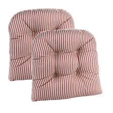 Ticking Stripe Universal Chair Cushion - 2 Pack