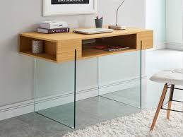 bureau en verre verre trempé mdf coloris chêne